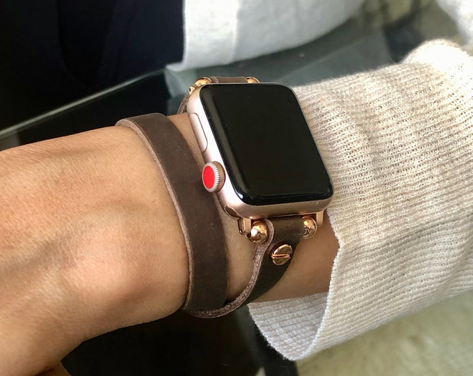 Apple Watch Band 38mm 40mm 42mm 44mm iWatch Leather Bracelet Rose Gold Apple Watch Wristband Slim Vintage Brown Leather iWatch Strap Jewelry