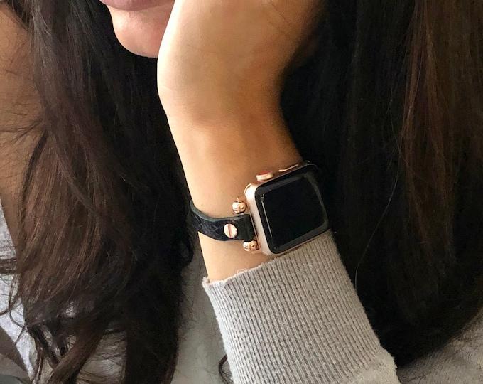 Rose Gold Apple Watch Band 38mm 40mm 41mm 42mm 44mm 45mm Slim Black Apple Watch Wristband Soft Grain Leather Apple Watch Strap Bracelet
