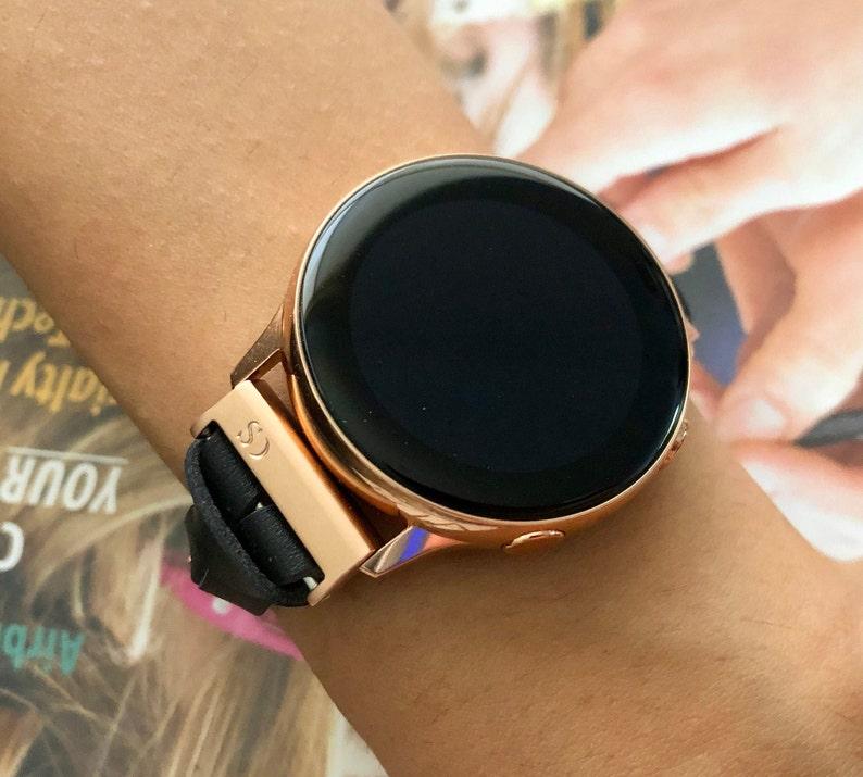 Galaxy Watch Band Rose Gold & Black Leather Galaxy Watch 42mm image 0