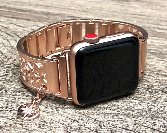 Rose Gold Apple Watch Band 41mm 45mm Women Bracelet iWatch Band Adjustable Apple Watch Links Bangle North Star Medallion Bracelet Jewelry