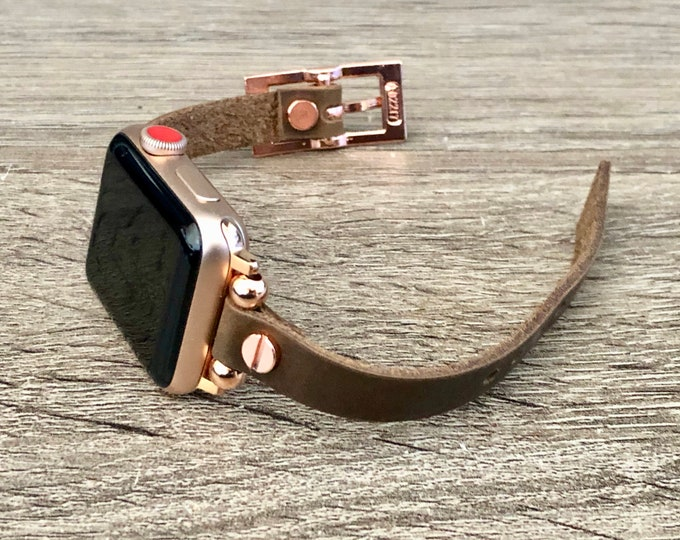 Apple Watch Band 38mm 40mm 42mm 44mm Rose Gold & Vintage Leather Apple Watch Bracelet 10mm Rustic Brown Leather Strap iWatch Wristband
