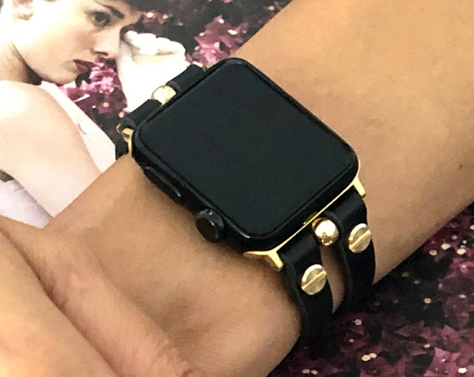 Gold & Black Leather Apple Watch Band 40mm 41mm 44mm 45mm Bracelet Women iWatch Band Double Straps Apple Watch Wristband Apple Watchband