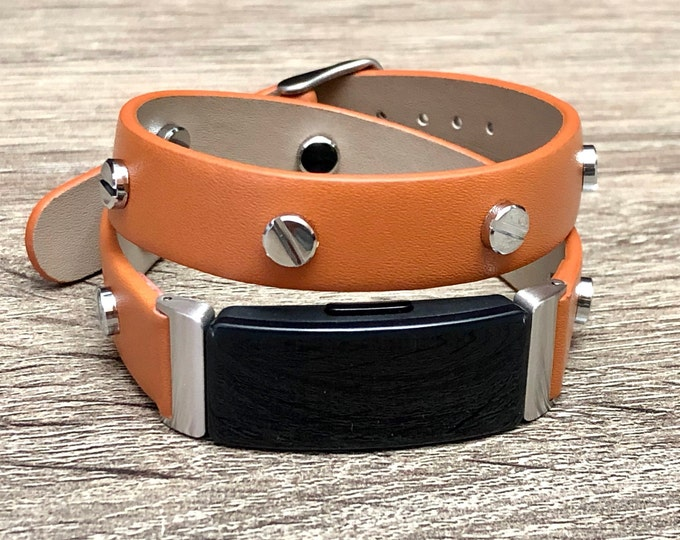 Brown Fitbit Inspire HR Band, Vegan Leather Fitbit Inspire HR Strap, Fitbit Inspire HR Bracelet, Adjustable Fitbit Inspire Wristband Jewelry