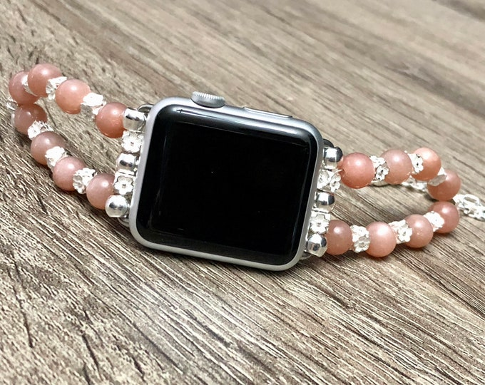 Gorgeous Pink Moonstone Bracelet for Apple Watch Series Handcrafted Jewelry for Apple Watch Moonstone Beads and 925 Sterling Silver Jewelry
