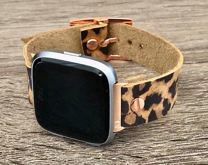 Leopard Print Leather Fitbit Versa 2 Band Rose Gold Fitbit Versa Lite Watch Strap Adjustable Fitbit Versa Band 18mm Leather Watch Wristband