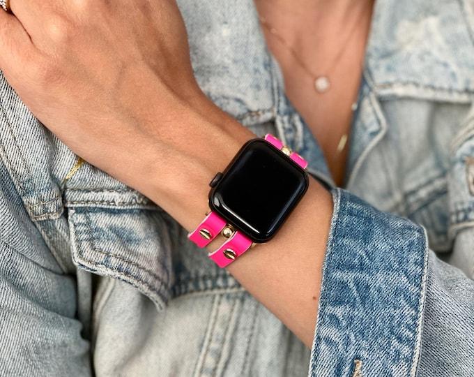 Pink Apple Watch Leather Bracelet 38mm 40mm 42mm 44mm Band Gold Apple Watch Strap Women iWatch Bracelet Adjustable Apple Watch Wristband