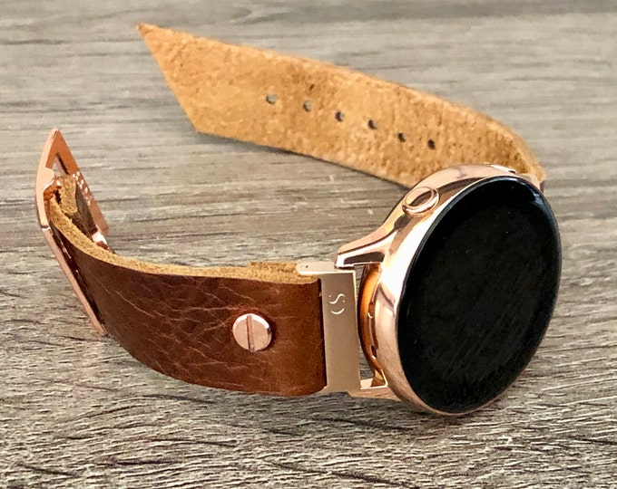 Vintage Brown Leather Samsung Galaxy Watch Active 2 Band 40mm 44mm Samsung Galaxy Watch 42mm Strap Bracelet 20mm Rose Gold Watch Band