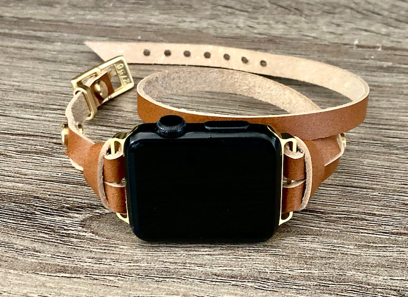 Apple Watch Band 38mm 40mm 42mm 44mm Gold & Brown Leather image 0