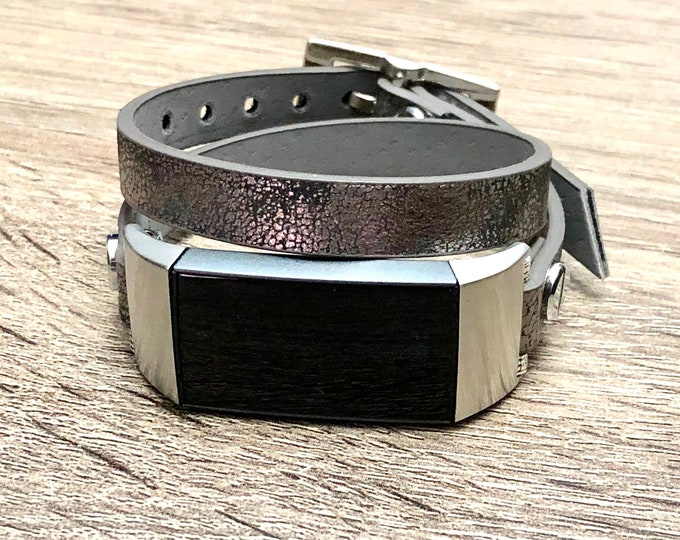 FITBIT CHARGE 3 Band Vegan Metallic Double Wrapped Recycled Fitbit Charge 3 Strap Stainless Steel Fitbit Charge 3 Leather Eco Friendly Band