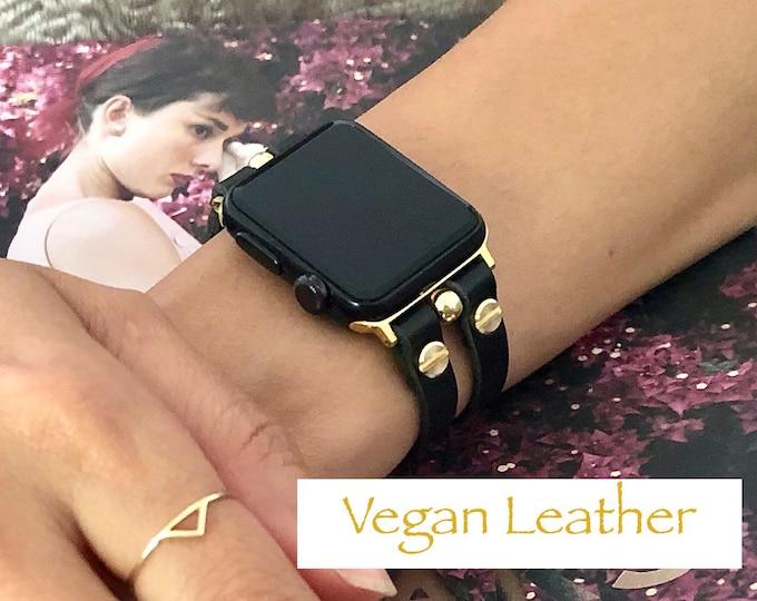 Black Vegan Leather Apple Watch Band 38mm 40mm 42mm 44mm Gold Apple Watch Strap Apple Watch Wristband Jewelry Adjustable iWatch Bracelet