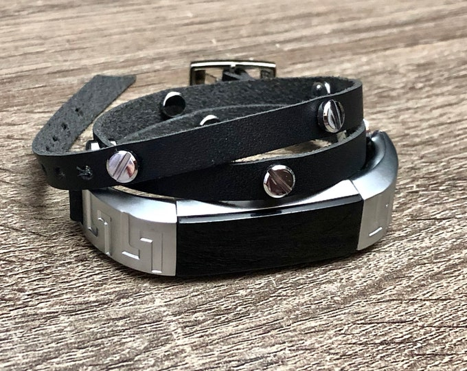 Elegant Black Leather Fitbit Alta HR Band Strap with Rivets Adjustable Fitbit Alta Bracelet Unisex Leather Fitbit Jewelry Wristband