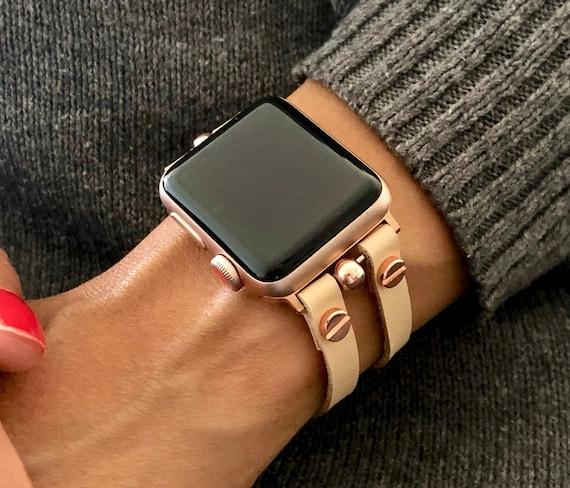 Vegan Leather Apple Watch Bracelet Cream Color Rose Gold Etsy