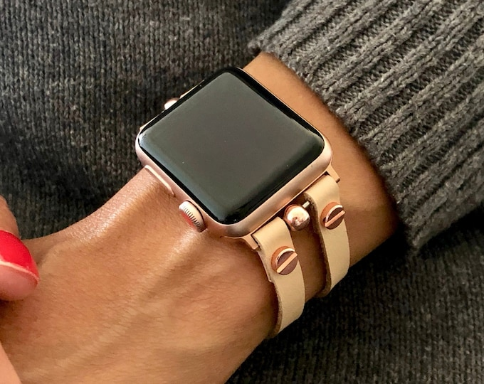 Vegan Leather Apple Watch Bracelet Cream Color & Rose Gold Apple Watch Band 38mm 40mm 42mm 44mm iWatch Band Cuff Wristband Series 7 6 5 4 3
