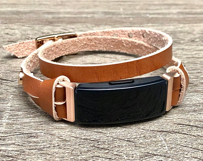 Rose Gold & Bronze Leather Fitbit Inspire Bracelet, Women Fitbit Inspire HR Band, Double Wrap Fitbit Inspire Strap, Fitbit Jewelry Wristband