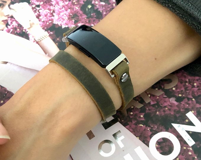 Brown Leather Fitbit Inspire HR Band Silver Inspire Strap Bracelet Double Wrap Style Fitbit Inspire Wristband Adjustable Fitbit Band