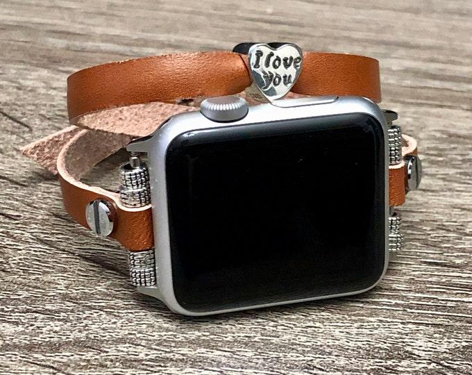 Elegant Bronze Brown Leather Apple Watch Strap Band Silver Jewelry Heart Bead iWatch 38mm 40mm 42mm 44mm Soft 7mm Slim Women Apple Watch