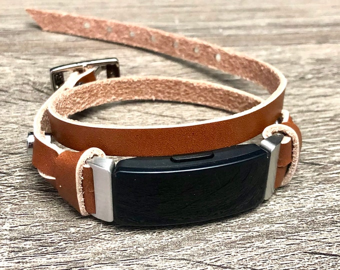 Fitbit Inspire Band,  Stainless Steel & Bronze Leather Slim Genuine Leather Fitbit Strap, Fitbit Inspire HR Bracelet, Fitbit Inspire Jewelry