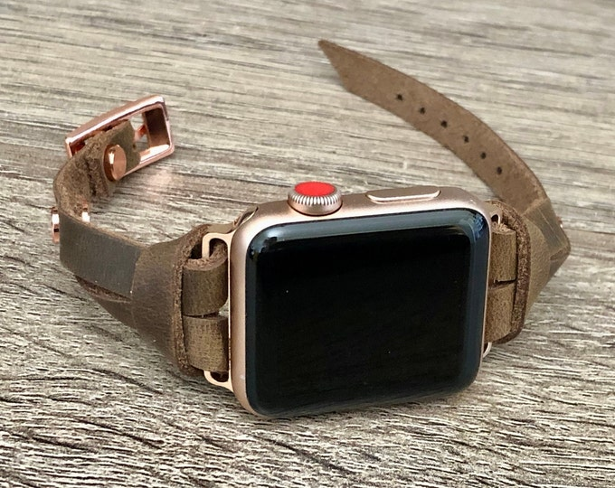 Apple Watch Band Rose Gold & Rustic Brown Leather Bracelet 38mm 40mm 42mm 44mm iWatch Strap Women Apple Watch Slim Leather Wristband Jewelry