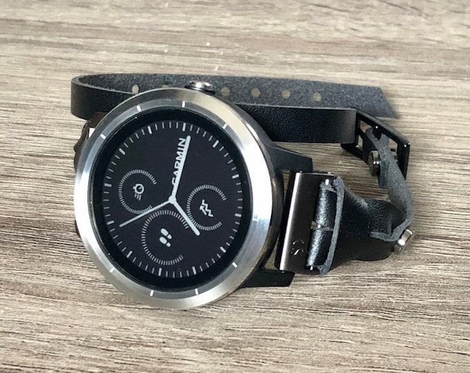 Sleek Garmin Vivomove HR Watch Band Handmade Double Wrapped Garmin Watch Strap Black Genuine Leather Vivomove HR Watch Wristband Jewelry