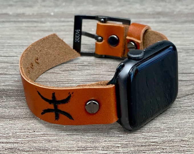 Pisces Zodiac Sign Apple Watch Band 40mm 41mm 38mm Leather Bracelet 45mm 44mm 42mm Adjustable iWatch Wristband Light Brown Apple Watch Strap