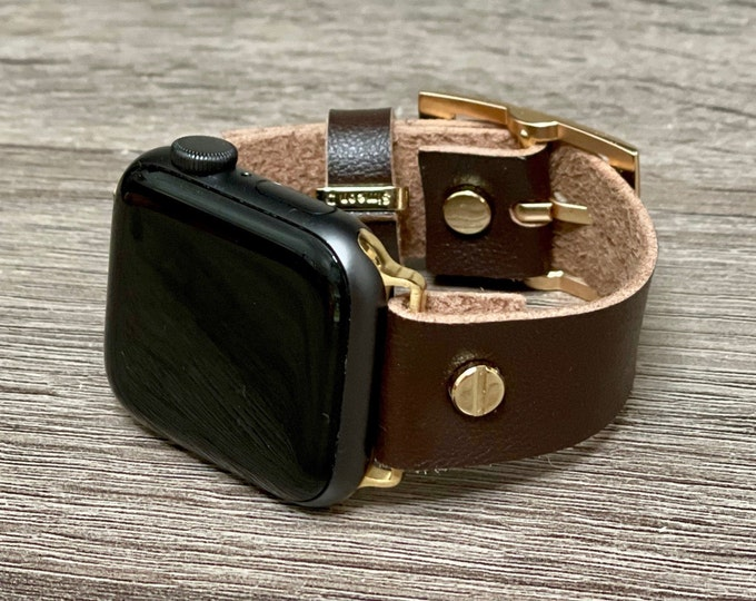 Dark Brown Apple Watch Band 38mm 40mm 42mm 44mm Vegan Leather & Gold Apple Watch Bracelet Faux Leather iWatch Strap Band iWatch Wristband