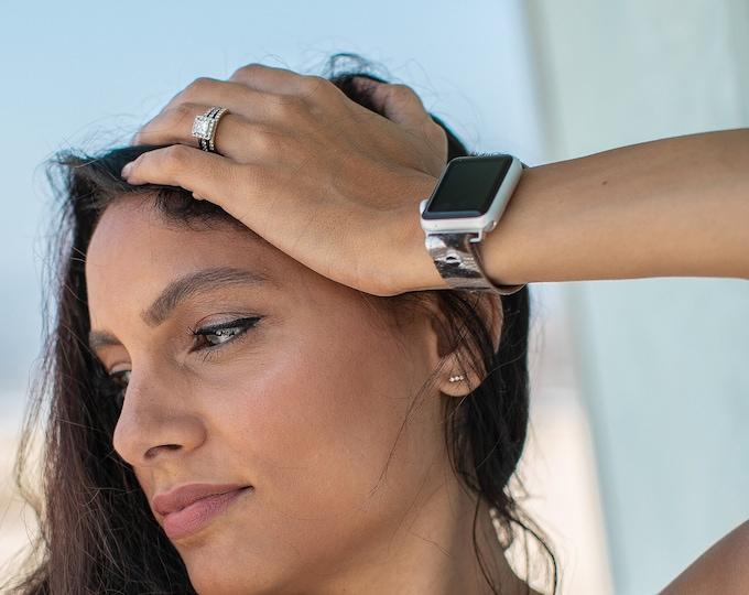 Apple Watch Band 38mm 40mm 42mm 44mm Genuine Leather Zebra Print iWatch Bracelet Silver Apple Watch Wristband Adjustable Women Strap Jewelry