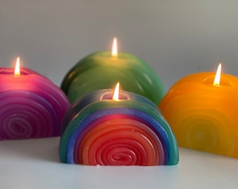 Rainbow Candle,Handmade Candle,Unique Candle,Colourful Candle,Snail Candle,Swirl Candle,Artistic Candle,Funky Candle,Twist Candle