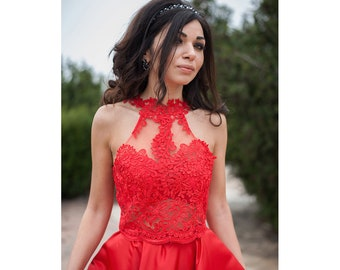 e9467ca5696e30 Red Lace Top / Lace Crop Top / Womens Top / Red Top / Elegant Top / Prom  Collection / Handmade Top
