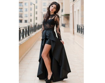 533a17e533e1 Lace Crop Top and Prom Maxi Skirt / 2 Piece Prom Dress / Elegant Prom Set / Prom  Dress / Long Sexy Skirt and Crop Top