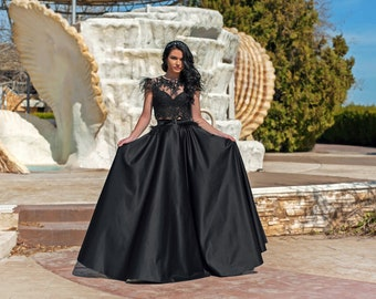 973ae56757 Dress With Feathers And Beads   Two Piece Prom Dress   Black Prom Dress   Lace  Top With Beads And Satin Set   2 Piece Prom Set   Women Dress