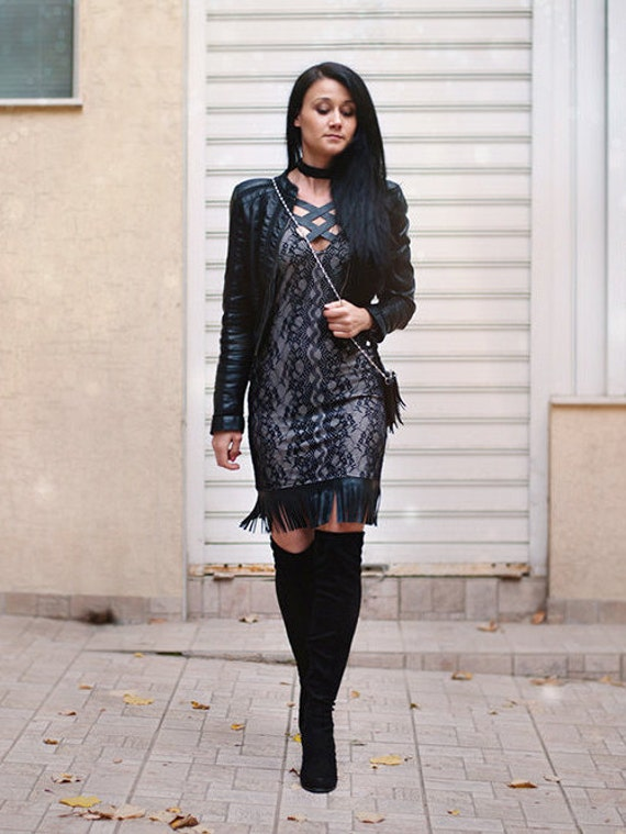 Black Lace Dress Womens Dresses Dress Midi Dress Cut Out Dress Designer Dress Dress With Leather Details Black Dress