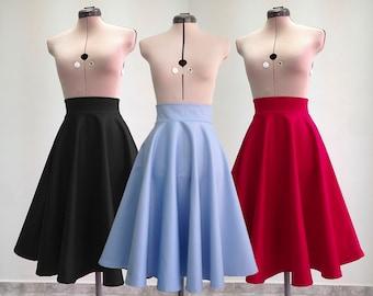 Vintage Style Skirt / High Waist Skirt / Midi Skirt / Women's Skirts / Circle Skirt / Flared Skirt / Handmade Skirt / Skirt For Women