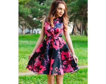 Flowers Dress / Womens Dresses / Dress / Midi Dress / Circle Dress / Spring-Summer Dress/ Flared Dress / Prom Dress /Party Dress