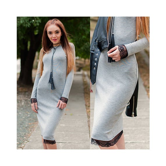 Gray Bodicon Dress With Lace Bodycon Dress Below The Knee Long Sleeve Dress Gray Womans Dress Midi Womens Dresses Dress With Lace