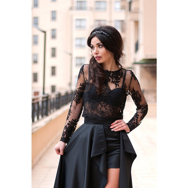 3b6946659f11 Lace Top   Crop Top   Women Top   Elegant Top   Long Sleeve