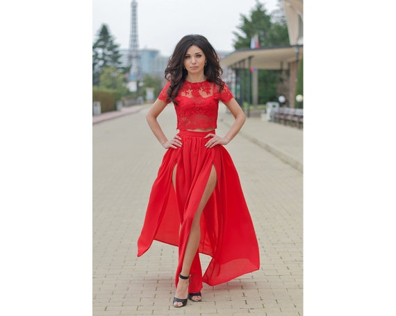 9e2fbf9fd947 Red Lace Top and Maxi Skirt   2 Piece Set for Women   Sexy