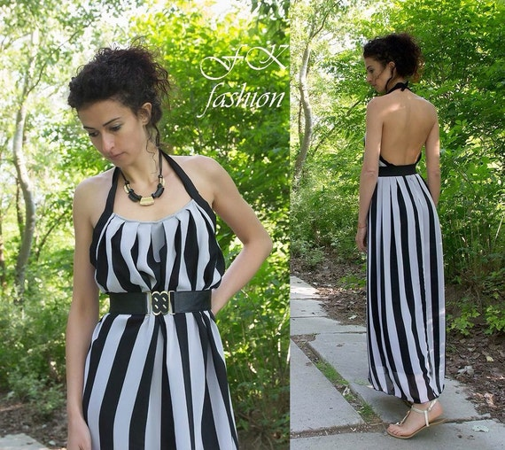 Kleid Streifen   Chiffon Kleid   Frauen Kleider   Kleid   Maxi   Etsy 566076f92f