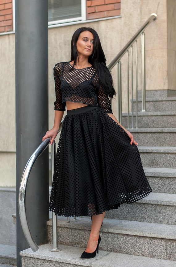 88eceb6604 Midi Skirt And Top Set With Mesh/Black Set For Women/Mesh   Etsy