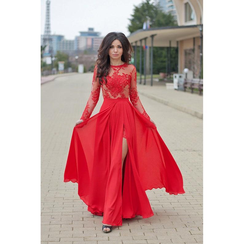 66f54fff01 Long Flare Dress/Red Prom Dress/Maxi Dress/Women Dress/Long | Etsy
