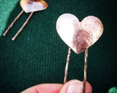 Copper heart hair pin, te...