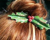 Christmas Holly hairpin, ...