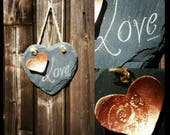 Love heart slate hanging ...
