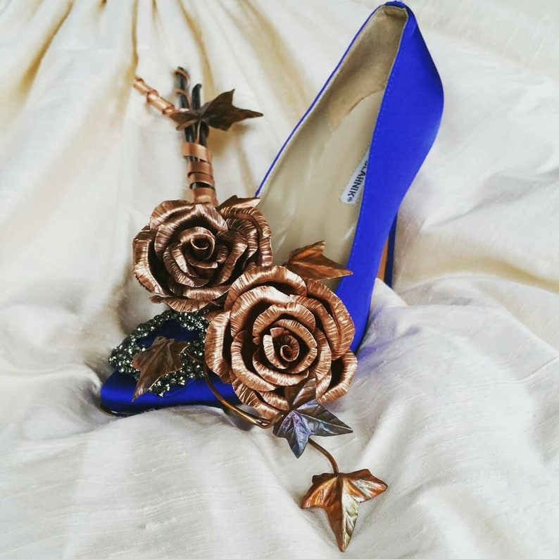 Rose and ivy flower sculpture bride copper bouquet never image 0
