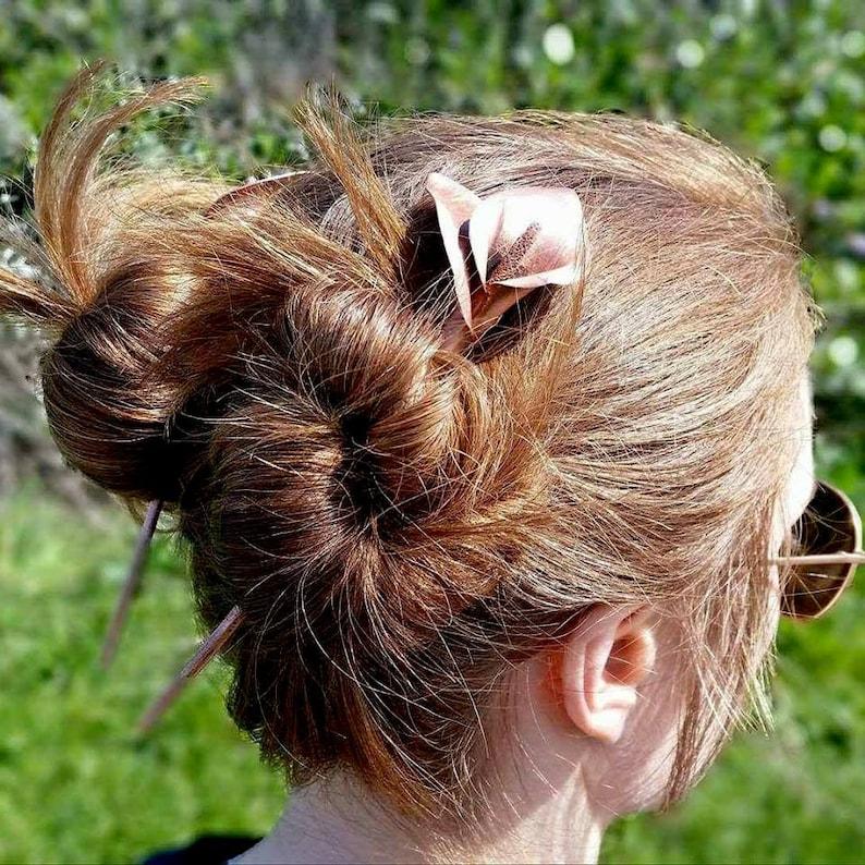 Calla lily hairstick copper stick hair chopstick flower hair image 0
