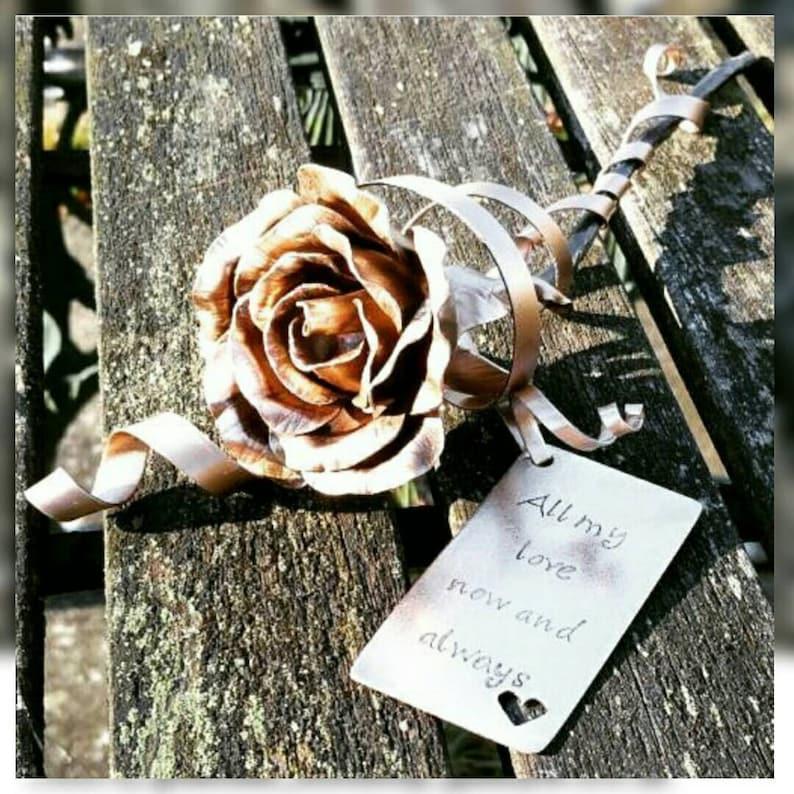 Bronze everlasting rose metal flower forever flower love image 0