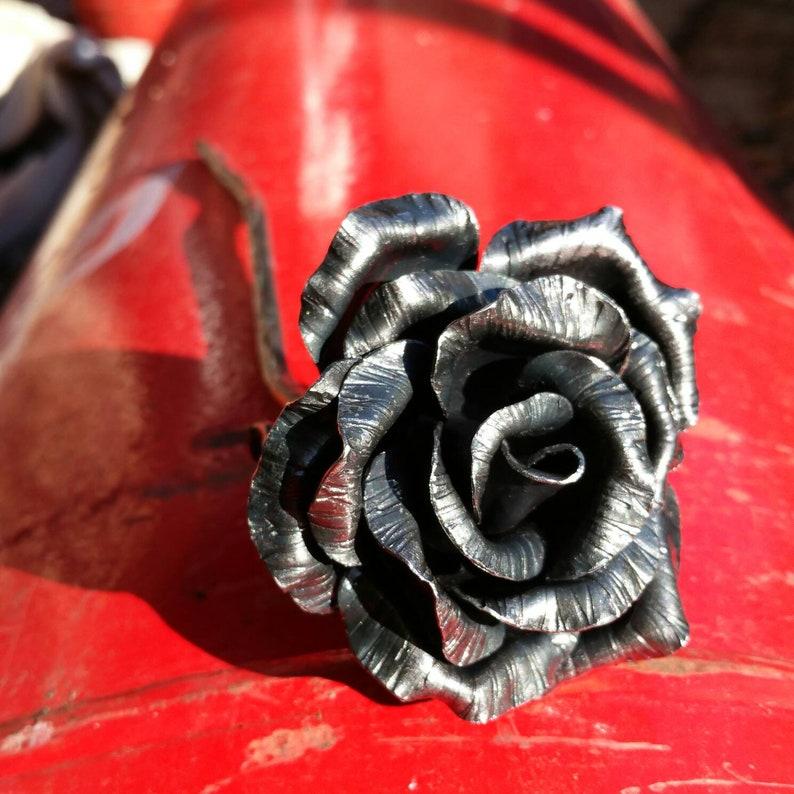 Gothic black steel rose 11th Wedding anniversary metal image 0
