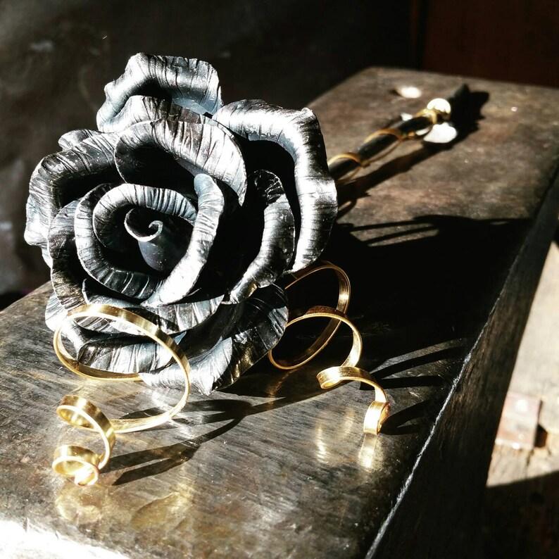 Steel anniversary gift metal rose forever flower metal image 0