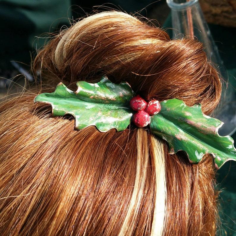 Christmas Holly hairpin christmas hair accessory ball image 0