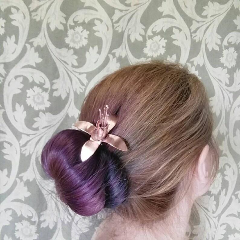 Fuchsia hairpin hair chopstick flower accessory prom hair image 0