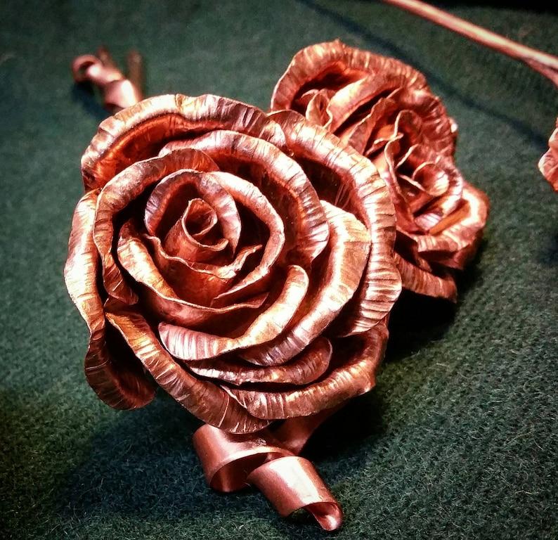 Copper wedding anniversary 7 years 9 years metal roses image 0